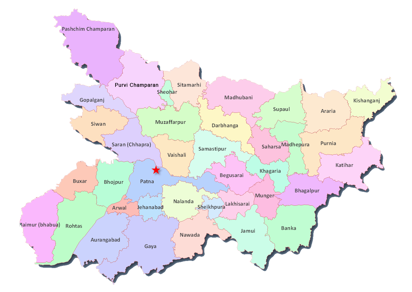 Bihar District Map