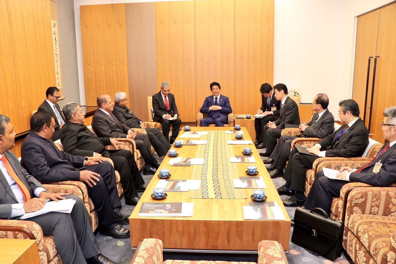 Bihar CM Nitish Kumar called on Prime Minister of Japan Shinzo Abe in Tokyo.