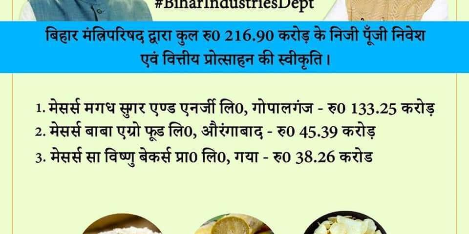 Bihar cabinet approves news investments in the state